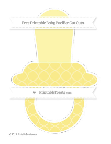 Free Pastel Yellow Quatrefoil Pattern Extra Large Baby Pacifier Cut Outs