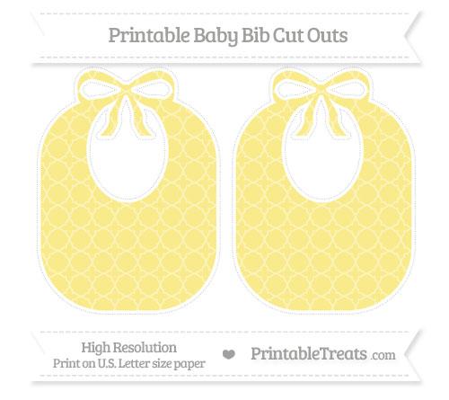 Free Pastel Yellow Quatrefoil Pattern Large Baby Bib Cut Outs