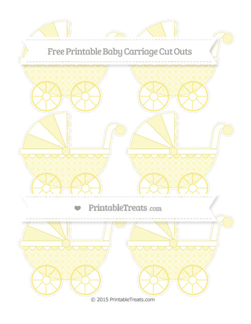 Free Pastel Yellow Quatrefoil Pattern Small Baby Carriage Cut Outs