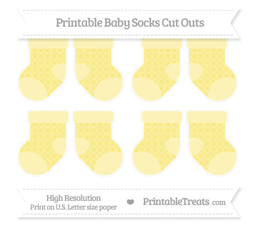 Free Pastel Yellow Quatrefoil Pattern Small Baby Socks Cut Outs