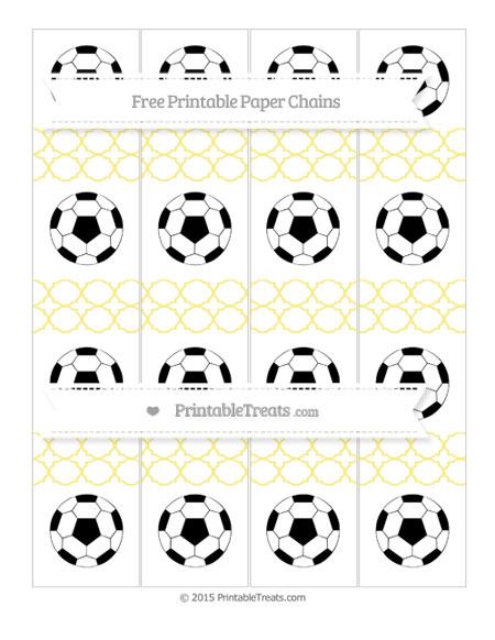 Free Pastel Yellow Quatrefoil Pattern Soccer Paper Chains