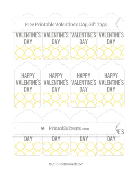 Free Pastel Yellow Quatrefoil Pattern Valentine's Day Gift Tags