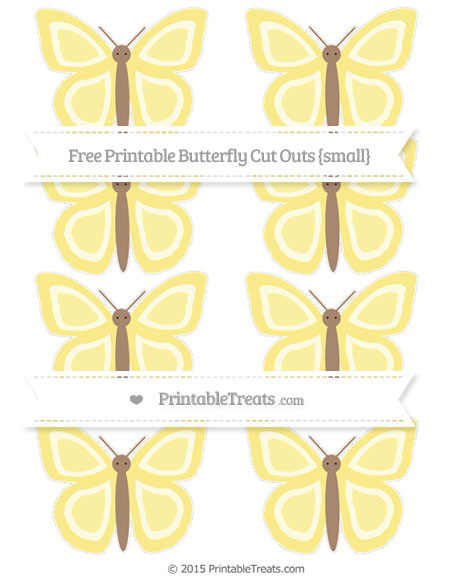 Free Pastel Yellow Small Butterfly Cut Outs