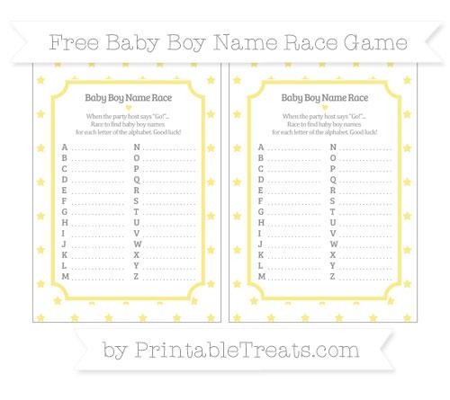 Free Pastel Yellow Star Pattern Baby Boy Name Race Game