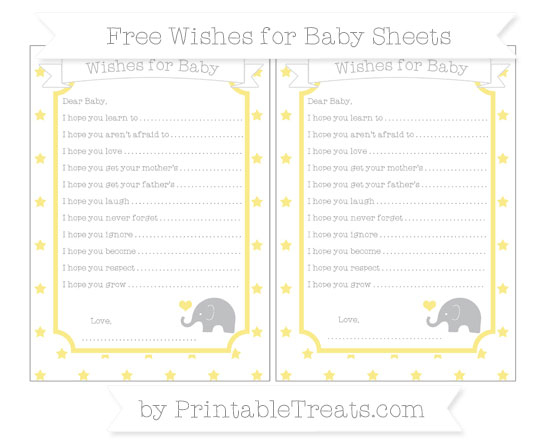 Free Pastel Yellow Star Pattern Baby Elephant Wishes for Baby Sheets