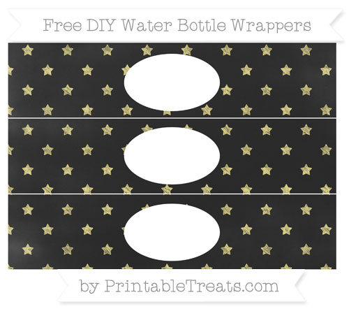 Free Pastel Yellow Star Pattern Chalk Style DIY Water Bottle Wrappers