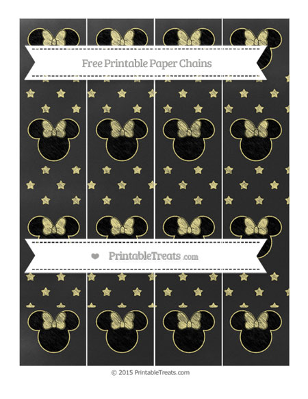 Free Pastel Yellow Star Pattern Chalk Style Minnie Mouse Paper Chains