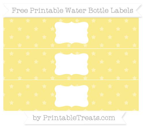 Free Pastel Yellow Star Pattern Water Bottle Labels