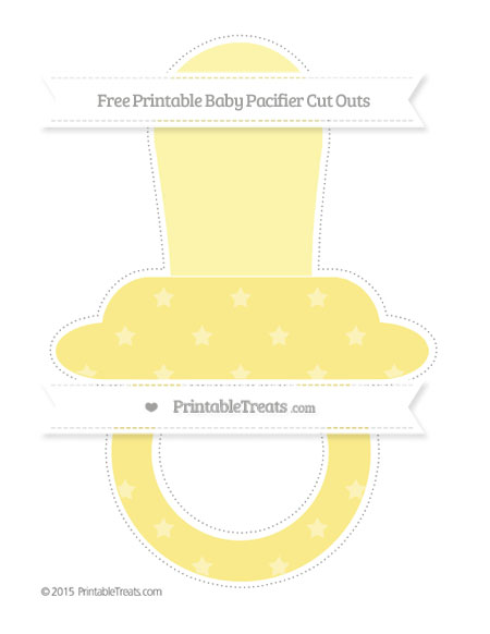 Free Pastel Yellow Star Pattern Extra Large Baby Pacifier Cut Outs