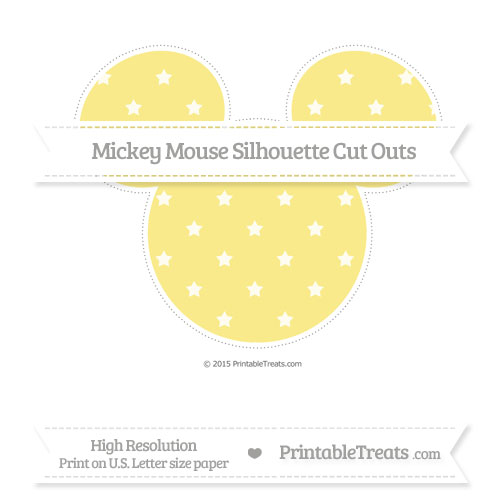 Free Pastel Yellow Star Pattern Extra Large Mickey Mouse Silhouette Cut Outs