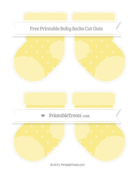 Free Pastel Yellow Star Pattern Medium Baby Socks Cut Outs