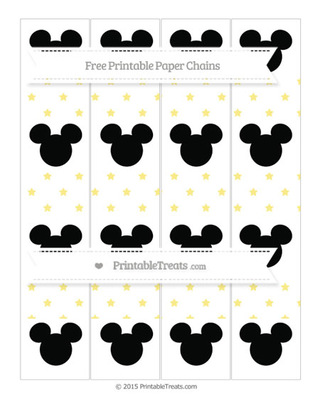 Free Pastel Yellow Star Pattern Mickey Mouse Paper Chains