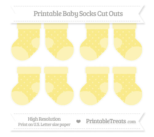 Free Pastel Yellow Star Pattern Small Baby Socks Cut Outs