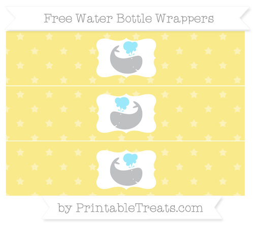 Free Pastel Yellow Star Pattern Whale Water Bottle Wrappers