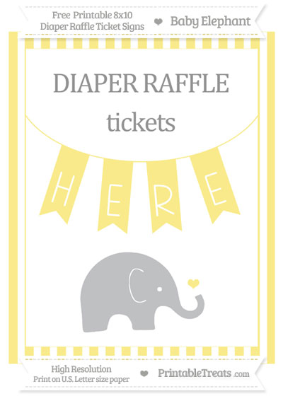 Free Pastel Yellow Striped Baby Elephant 8x10 Diaper Raffle Ticket Sign