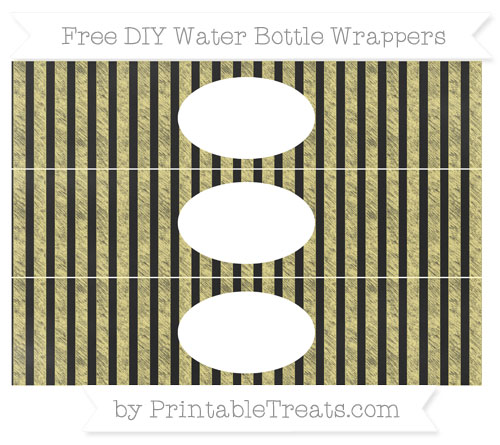 Free Pastel Yellow Striped Chalk Style DIY Water Bottle Wrappers