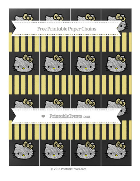 Free Pastel Yellow Striped Chalk Style Hello Kitty Paper Chains