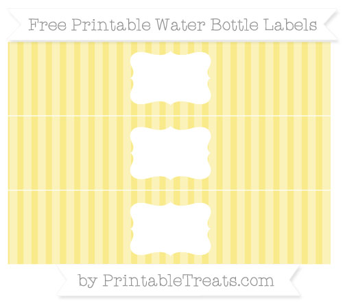 Free Pastel Yellow Striped Water Bottle Labels