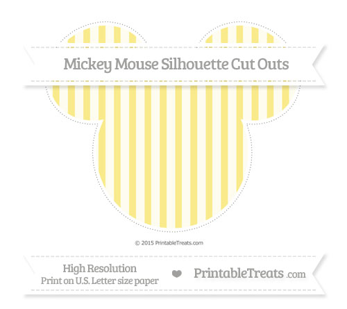 Free Pastel Yellow Striped Extra Large Mickey Mouse Silhouette Cut Outs