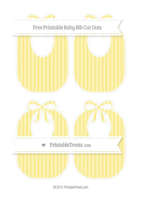Free Pastel Yellow Striped Medium Baby Bib Cut Outs