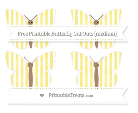 Free Pastel Yellow Striped Medium Butterfly Cut Outs