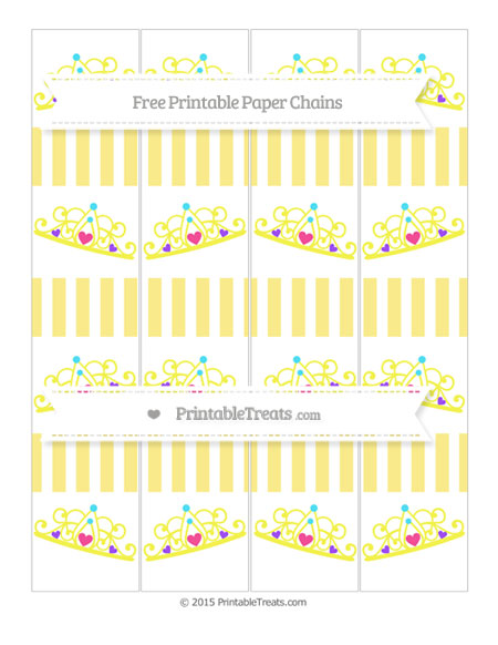 Free Pastel Yellow Striped Princess Tiara Paper Chains