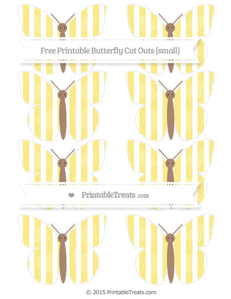 Free Pastel Yellow Striped Small Butterfly Cut Outs