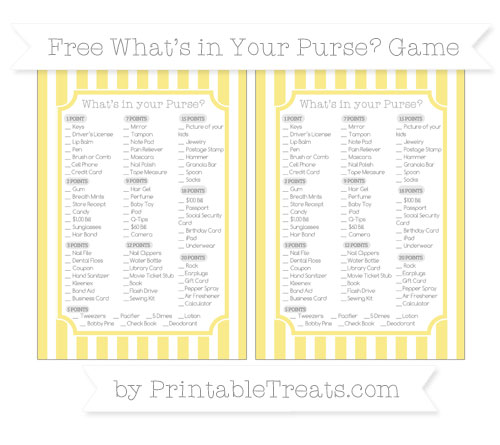 Free Pastel Yellow Striped What's in Your Purse Baby Shower Game