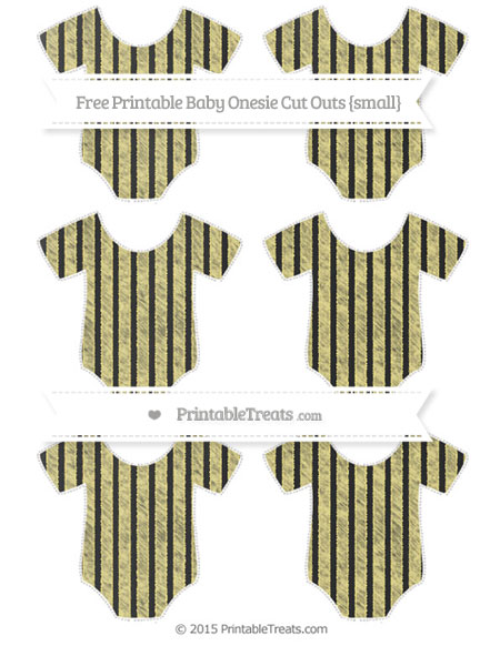 Free Pastel Yellow Thin Striped Pattern Chalk Style Small Baby Onesie Cut Outs