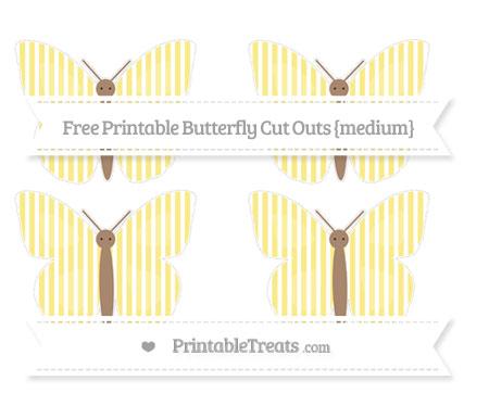 Free Pastel Yellow Thin Striped Pattern Medium Butterfly Cut Outs