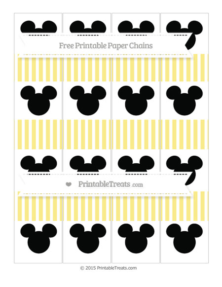 Free Pastel Yellow Thin Striped Pattern Mickey Mouse Paper Chains