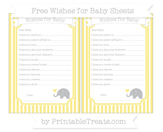 Free Pastel Yellow Thin Striped Pattern Baby Elephant Wishes for Baby Sheets