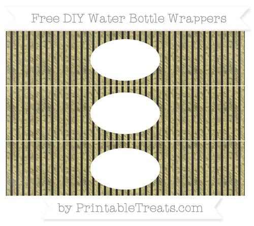 Free Pastel Yellow Thin Striped Pattern Chalk Style DIY Water Bottle Wrappers