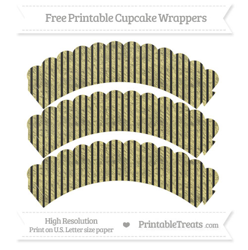 Free Pastel Yellow Thin Striped Pattern Chalk Style Scalloped Cupcake Wrappers