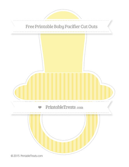 Free Pastel Yellow Thin Striped Pattern Extra Large Baby Pacifier Cut Outs