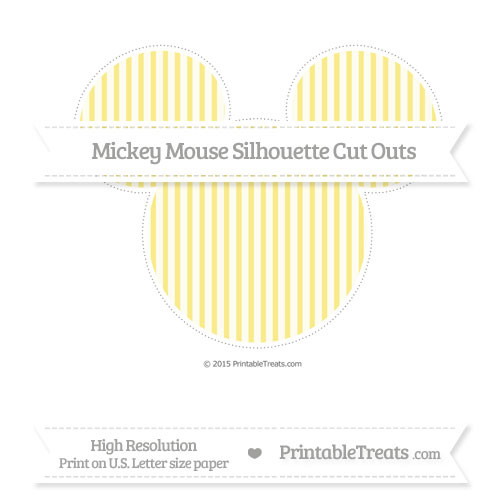 Free Pastel Yellow Thin Striped Pattern Extra Large Mickey Mouse Silhouette Cut Outs