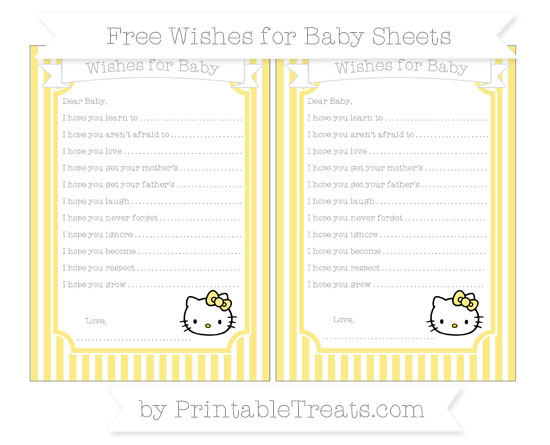 Free Pastel Yellow Thin Striped Pattern Hello Kitty Wishes for Baby Sheets