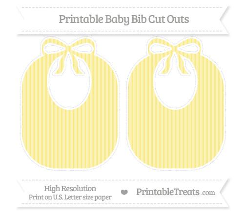 Free Pastel Yellow Thin Striped Pattern Large Baby Bib Cut Outs