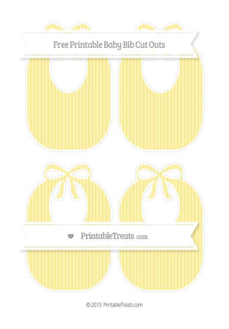 Free Pastel Yellow Thin Striped Pattern Medium Baby Bib Cut Outs