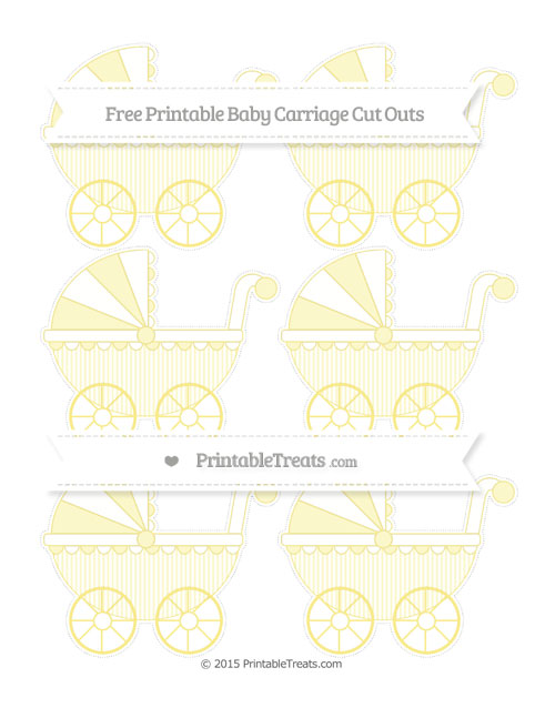 Free Pastel Yellow Thin Striped Pattern Small Baby Carriage Cut Outs