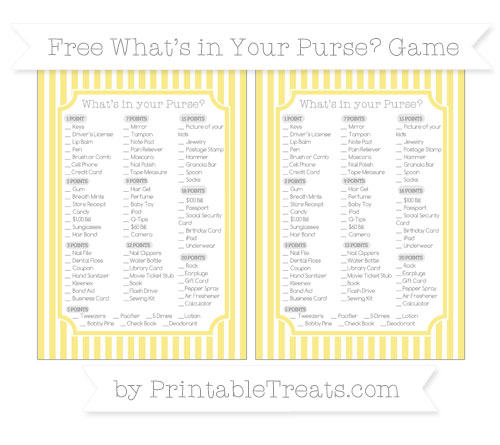 Free Pastel Yellow Thin Striped Pattern What's in Your Purse Baby Shower Game