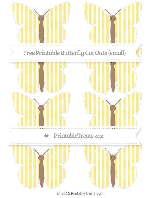 Free Pastel Yellow Thin Striped Pattern Small Butterfly Cut Outs