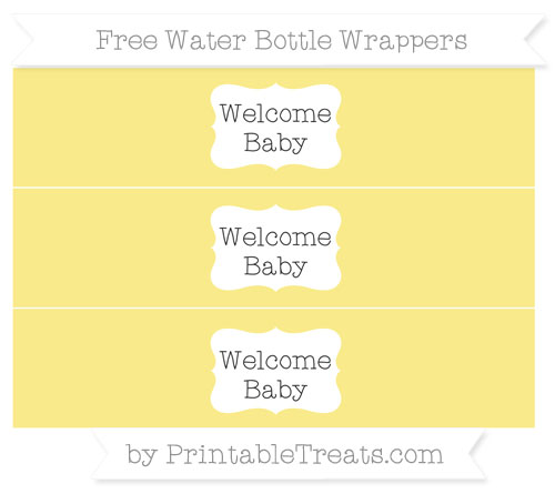 Free Pastel Yellow Welcome Baby Water Bottle Wrappers