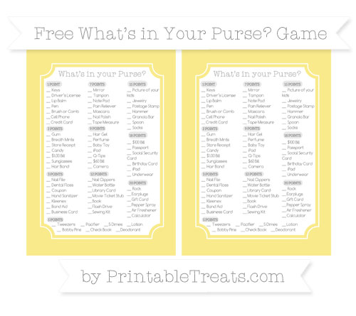 Free Pastel Yellow What's in Your Purse Baby Shower Game