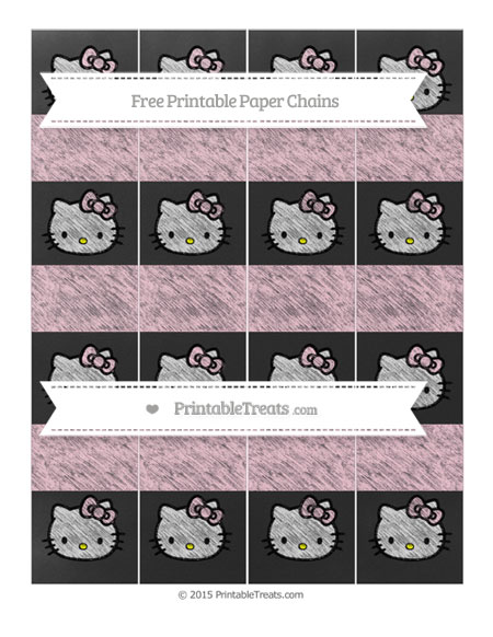 Free Pink Chalk Style Hello Kitty Paper Chains