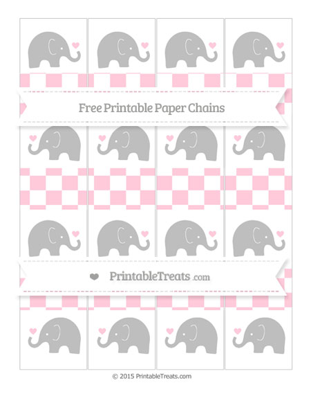 Free Pink Checker Pattern Baby Elephant Paper Chains