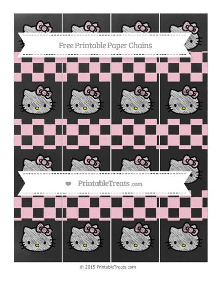 Free Pink Checker Pattern Chalk Style Hello Kitty Paper Chains