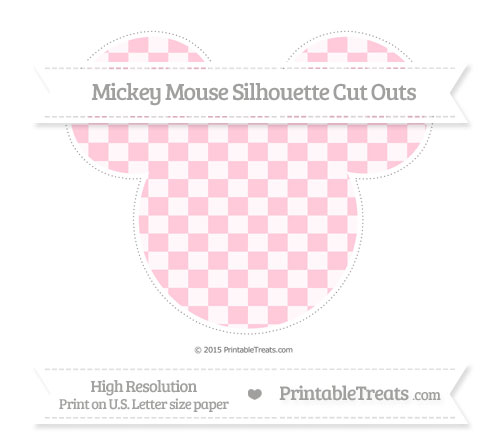 Free Pink Checker Pattern Extra Large Mickey Mouse Silhouette Cut Outs
