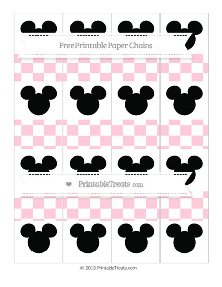 Free Pink Checker Pattern Mickey Mouse Paper Chains