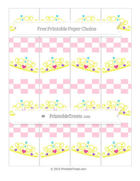 Free Pink Checker Pattern Princess Tiara Paper Chains
